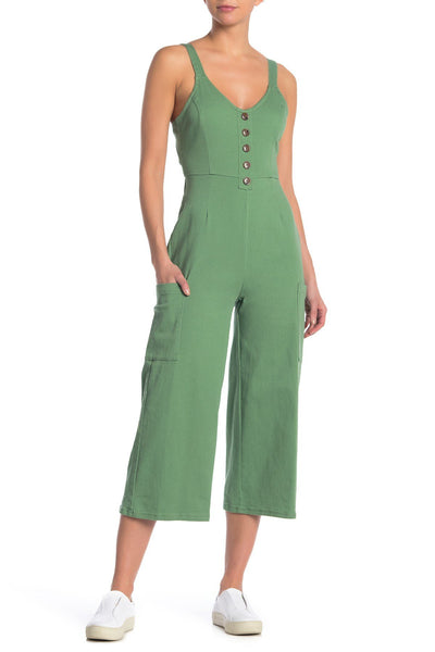 Love, Fire Bow Back Jumpsuit, Hedge Green, Medium