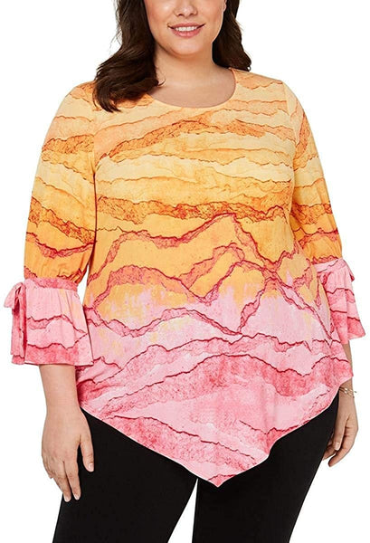 Alfani Printed Pointed-Hem Top Pink