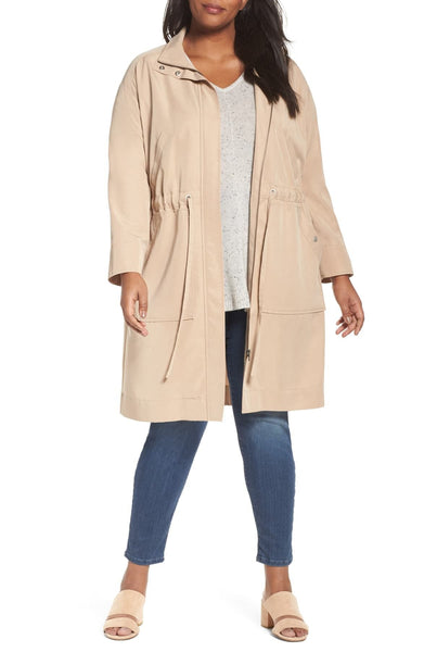 Sejour Long Utility Jacket (Plus Size), TAN SESAME, 20W