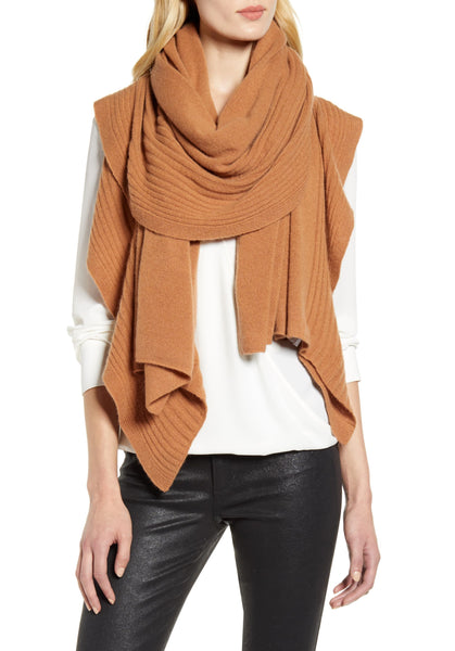 Nordstrom Women Speckled Fringe Trim Muffler | One Size | Cinnamon Dark Heather