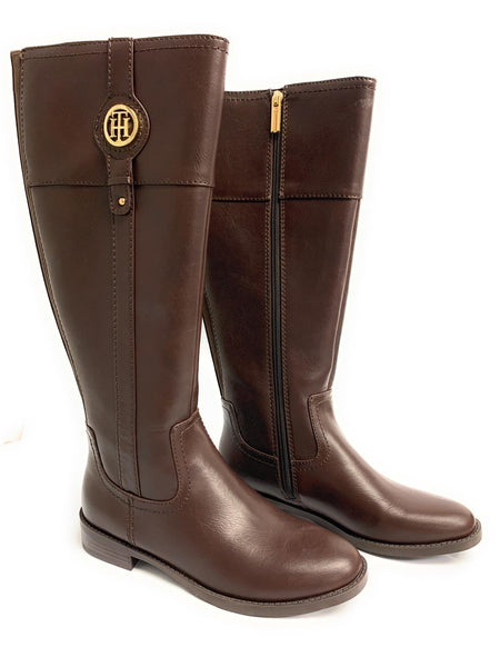Tommy Hilfiger Women's Signature Mixed Media Riding Boots - Size 6.5 - Brown