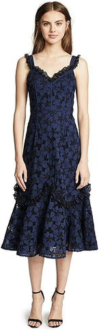 Women's Rebecca Taylor Adriana Eyelet Midi Dress, Size L - Blue