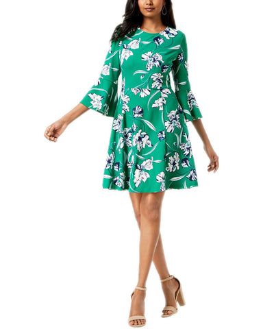 Jessica Howard Printed Bell Sleeve Fit & Flare Dress