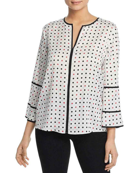 Donna Karan Womens Polka Dot Split Neck Blouse