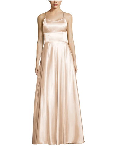 Betsy & Adam Satin Strappy Back Gown