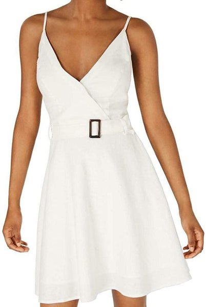 Sequin Hearts Juniors' Spaghetti Strap Belted Dress White Size X-Large