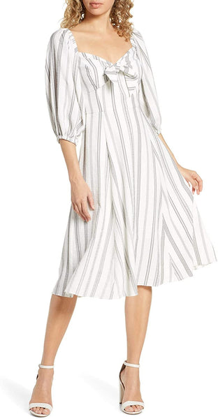 Chelsea28 Women's Stripe Knot Front Dress, Size 0 - Black White