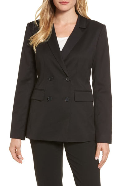 HALOGEN Double Breasted Stretch Blazer, Black, Small