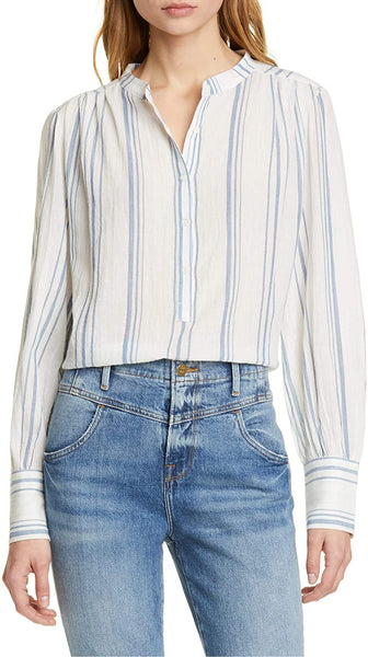 FRAME Women's Stripe Cotton Gauze Top - Size X-Small - White