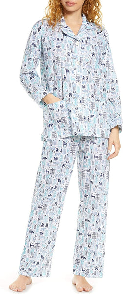 Roller Rabbit Women's Nordic Folk Print Pajamas, Size Small - Blue