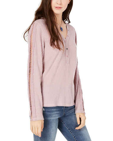 American Rag Juniors' Crochet Trimmed Waffle Knit Henley Top