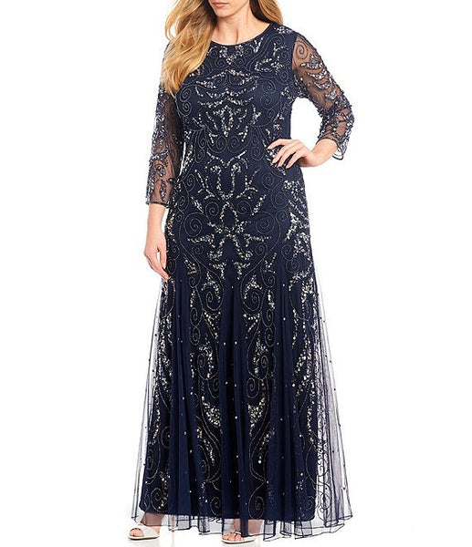 Pisarro Nights Plus Long Sleeve Beaded Gown, Size 12, Carbon