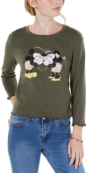 Love Tribe Juniors' Disney Mickey & Minnie Mouse Lettuce Edge Graphic T Shirt