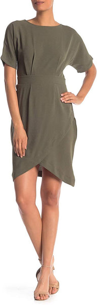 Bobeau Solid Dolman Sleeve Faux Wrap Dress Olive Small