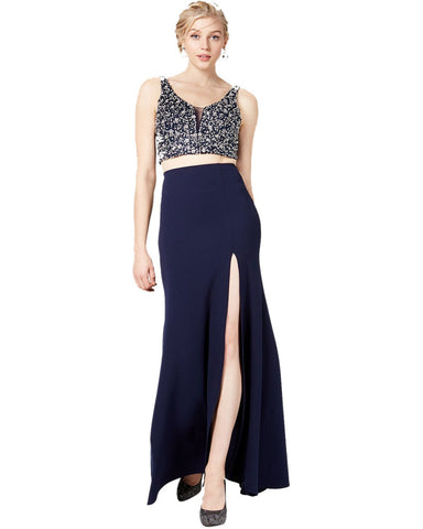 Say Yes To The Prom Juniors' 2 Pc Bejeweled Slit Gown