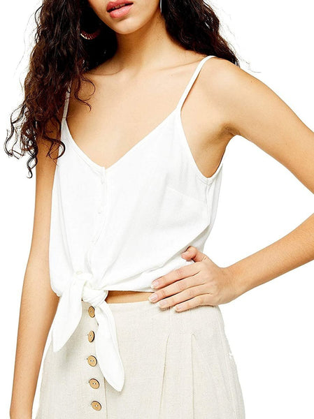 Topshop Women's Polly Tie Front V-Neck Sleeveless Camisole - Size 10 US - Ivory