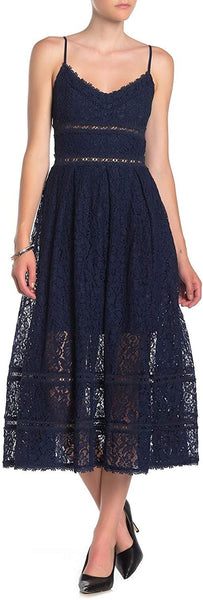 NSR Women Sleeveless Lace Midi Dress, Size: Large, Navy Blue