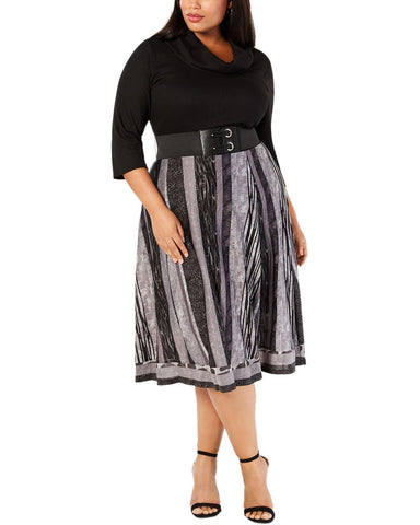 Robbie Bee Plus Size Belted Sweater Dress