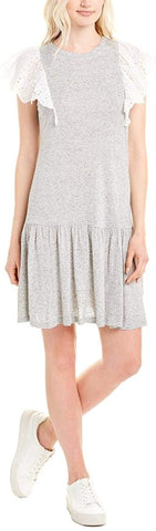 Rebecca Taylor Women's Gray Eyelet Shift Dress - Size Small, Gray