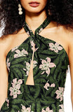 Topshop Hibiscus Floral Hawiian Halter Neck Midi Dress for Women in Forrest Green, US 8 (UK 12)