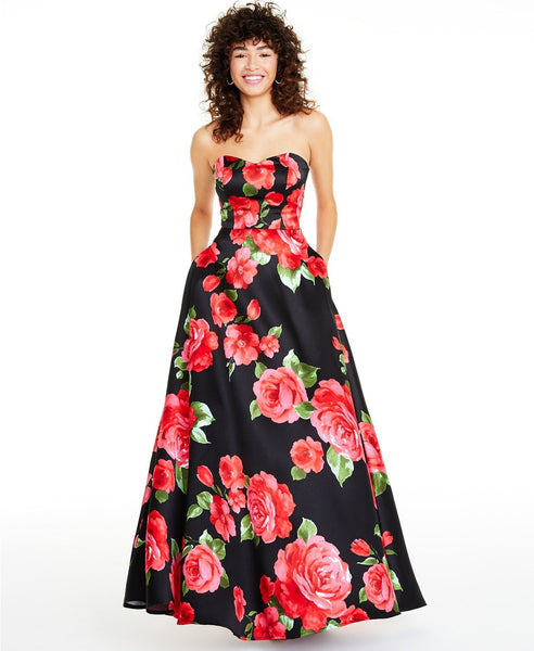 B Darlin Women Strapless Floral-Print Gown Juniors' |17/18 | Black/red/green