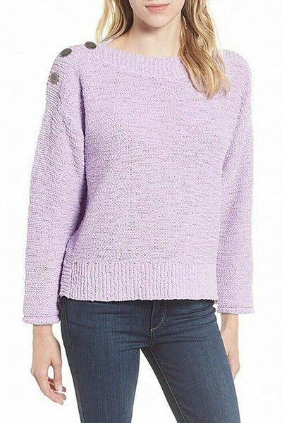 Caslon Women Knitted Ribbed-Trim Button Shoulder Sweater | Size - XL | Purple