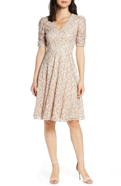 Eliza J Women's Lace Ruched Sleeve Lace Fit & Flare Dress, Size 18 (Similar fit to 14W), Pink