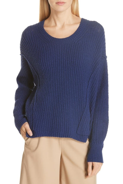 Vince Women Long sleeves Overlap Panel Sweater | Size - Small | Color - Blue