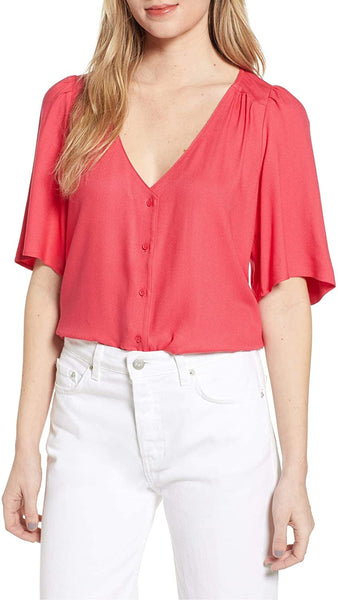 Hinge Women's Button Front V-Neck Top - Size Large | Red