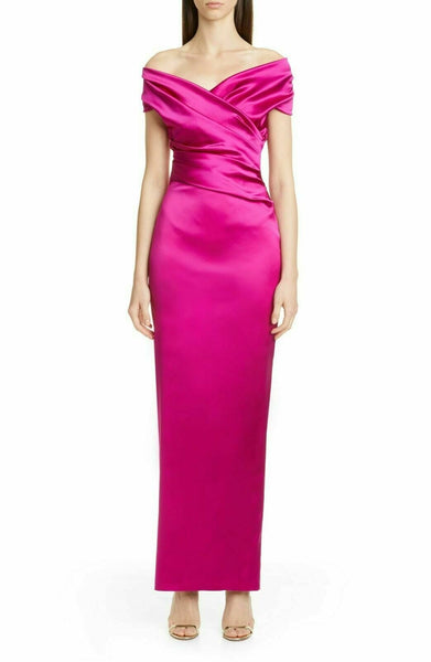 Talbot Runhof Women sleeveless off the shoulder Tokara gown | Size - 12 | Pink