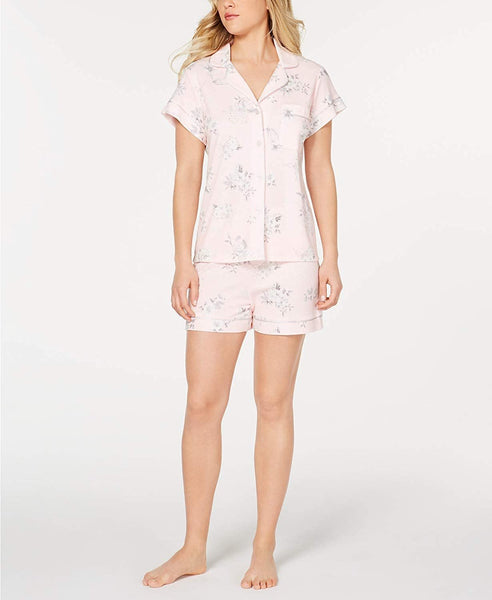 Miss Elaine Notch Collar Top and Shorts Printed Pajama Set - Small Bright Pink