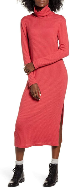 ALL IN FAVOR Women's Long Sleeve Midi Sweater Dress, Size X-Large - Deep Clare