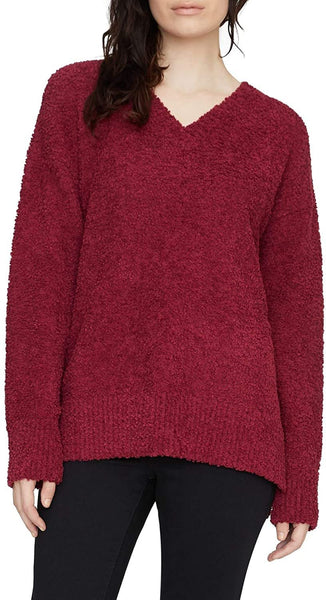 Sanctuary Women's V-Neck Teddy Sweater - Size Medium | Burgundy