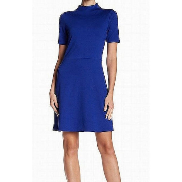 The Vanity Room Women's Mock Neck A-Line Dress, Size Small, Blue