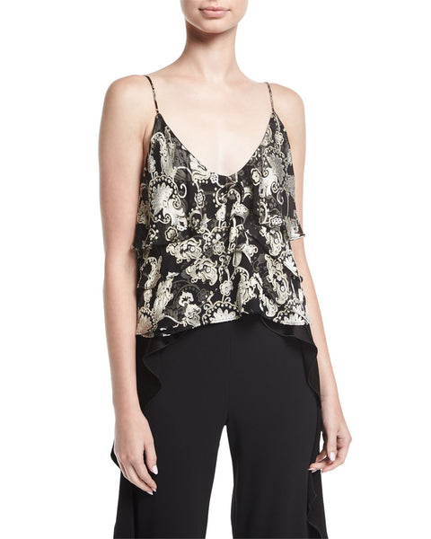 Alice + Olivia Vanessa Tiered Devoré Camisole Top, Black, Medium