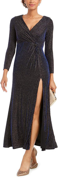 Nightway Women Metallic Surplice Gown Petite | Size - 6 | Black/Navy/Gold