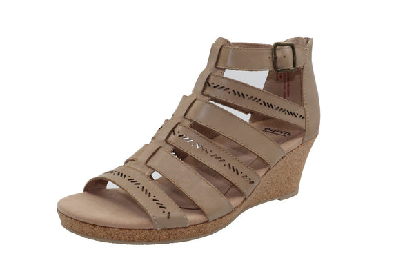 Earth Women's Woodland Sunny Leather Wedged Sandal - Size 11, Light Pecan