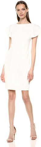 Calvin Klein Women's Round Neck Sheath with Split Short Sleeves Dress