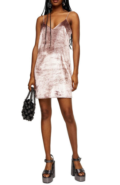 Topshop Women V-Neck Glitter Velvet Mini Slipdress | Size - 6 | Color - Rose