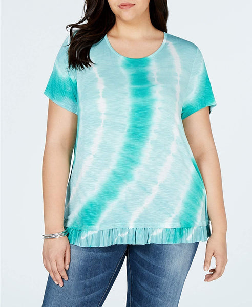 Style & Co. Plus Size Printed Ruffle-Hem Top, Created for Macy's