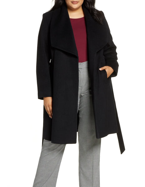 Cole Haan Women's Signature Slick Wool Blend Wrap Plus Coat | Size 3X | Black