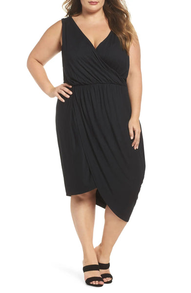 Rebel Wilson X Angels Women's Plus Size Drape Surplice Dress, Black, 3X