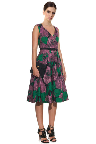 Erdem Kuni Loren Metallic Rose Jacquard V-Neck Cocktail Evening Dress