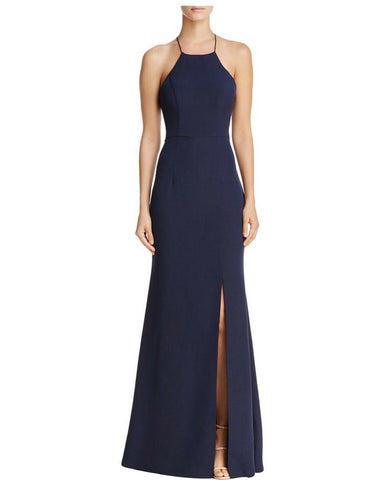 Bariano High Neck Cross Back Gown