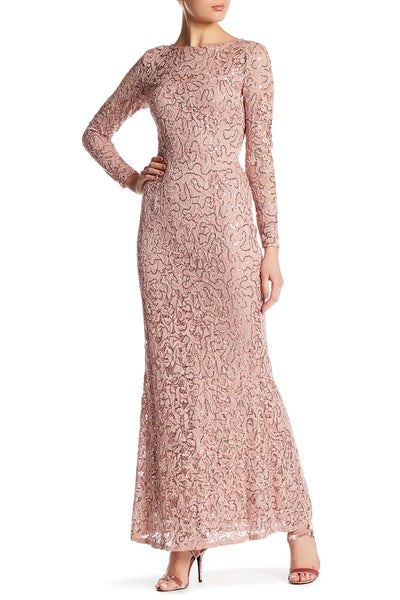 Marina Women Long Sleeve Sequin Lace Gown, Size Small, Blush
