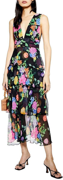 Women's Topshop Freida Floral Pinafore Maxi Dress, Size 12 - Black