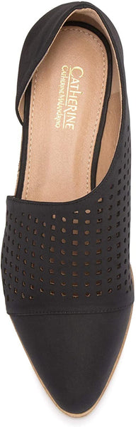 CATHERINE CATHERINE MALANDRINO Roffee Perforated D'Orsay Flat, Size 7.5, Black