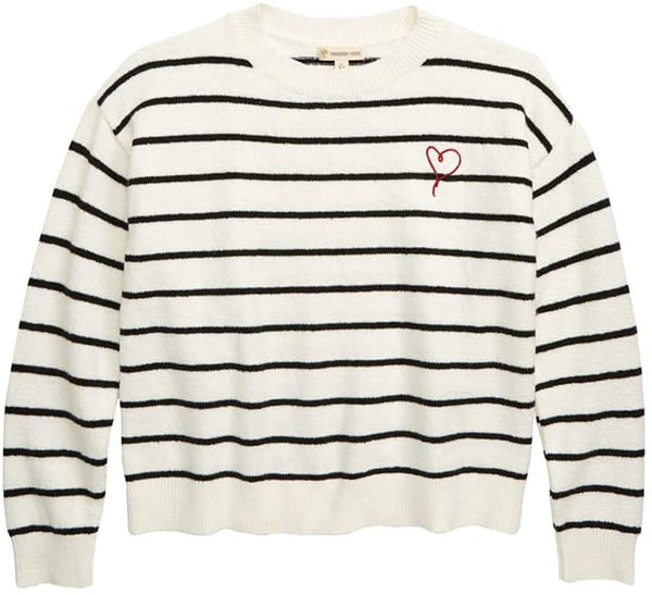 Tucker +Tate Girls Between The Lines Stripe Sweater | Size - XL | Color - Ivory