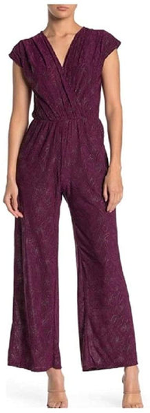 West Kei Metallic dot Jumpsuit, Wine/Silver, Size 3X