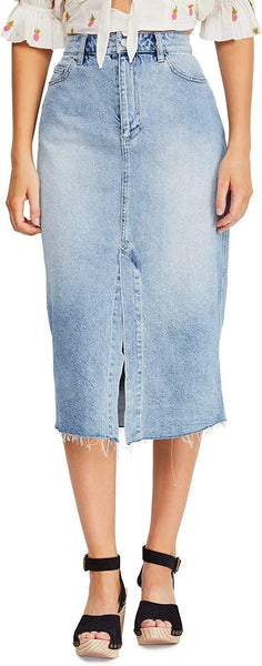 Women's Free People Wilshire Denim Midi Skirt, Size 29 - Blue